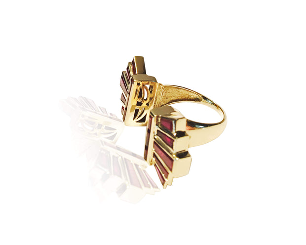 "Adore Adorn Ring Custom 18K Gold + Ruby ""Art Deco"" ring"