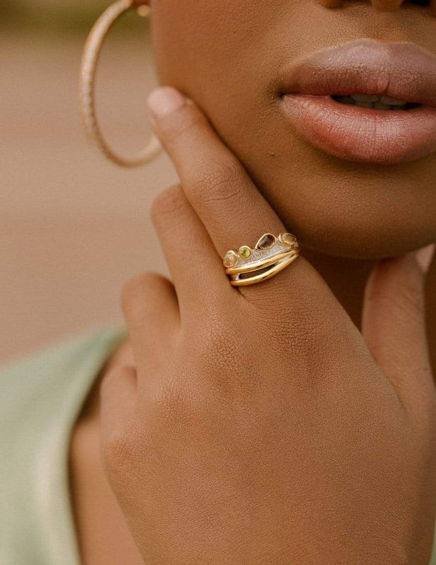 Adore Adorn Ring Desire Cocktail Ring in White Rhodium + 14K Gold