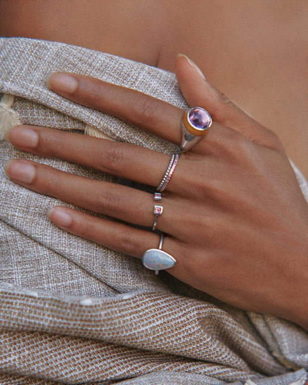 Adore Adorn Ring Earth's Essence Opal Ring - Matte Silver