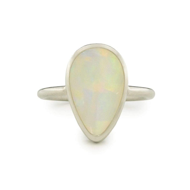 Earth's Essence Opal Ring in Matte Silver