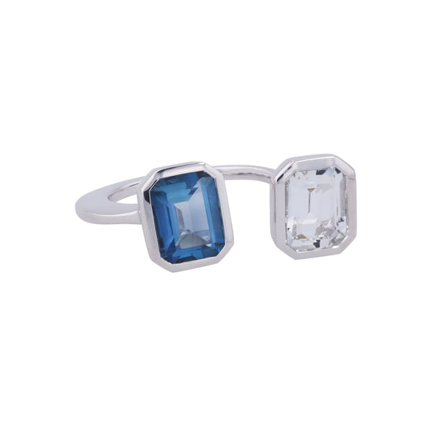 Adore Adorn Ring Lila Ring with Blue + White Topaz in White Rhodium