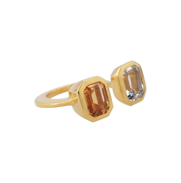 Adore Adorn Ring Lila Ring with Citrine + Peridot in Matte Gold