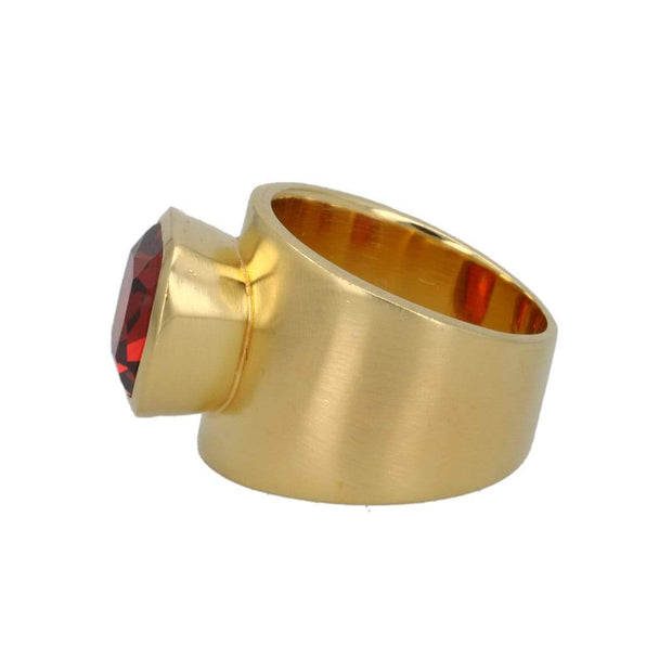 Adore Adorn Lilly Ring Brushed Gold Red Garnet