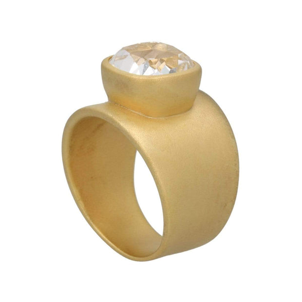 Adore Adorn Lilly Ring Matte Gold Clear Quartz