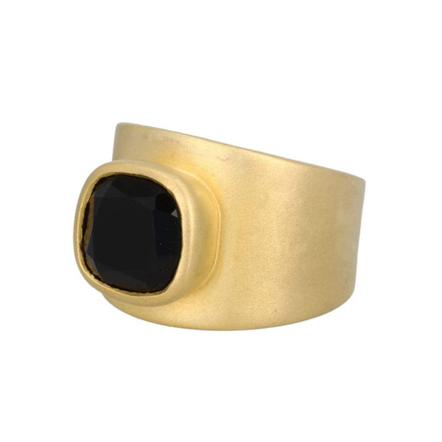 Adore Adorn Lilly Ring Matte Gold Black Onyx