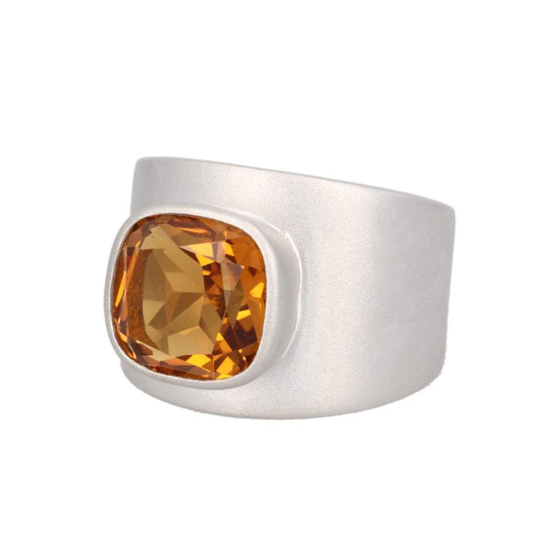 Adore Adorn Lilly Ring – Matte Silver / Citrine