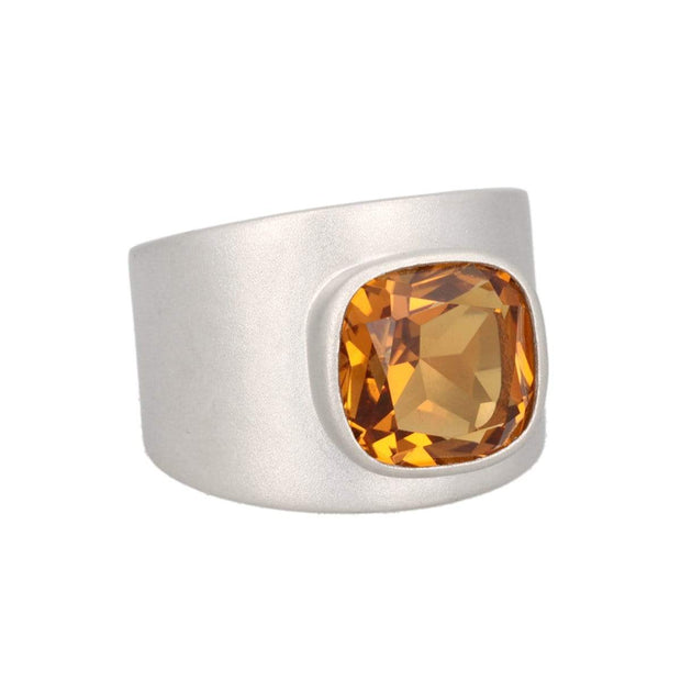 Lilly Ring - Matte Silver / Citrine
