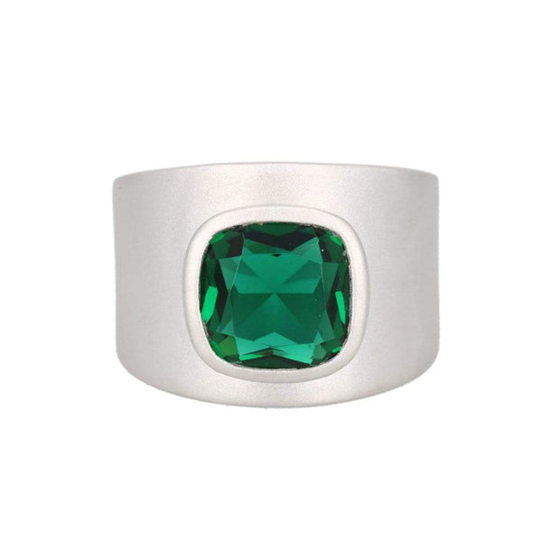 Lilly Ring - Matte Silver / Green Quartz