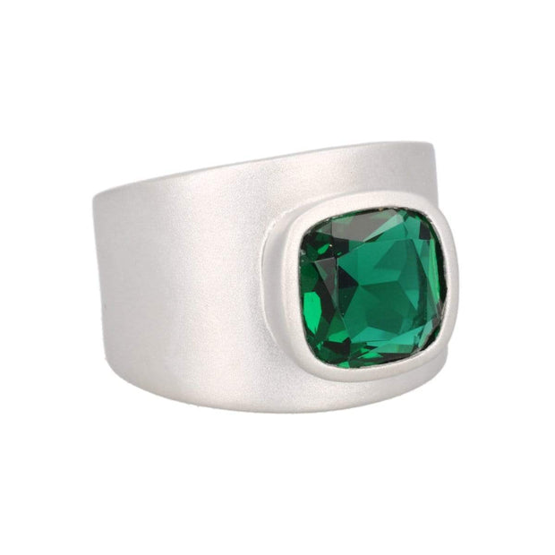 Adore Adorn Ring Lilly Ring - Matte Silver / Green Quartz