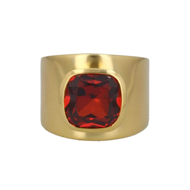 Adore Adorn Ring Lilly Ring - Red Garnet / Brushed Gold