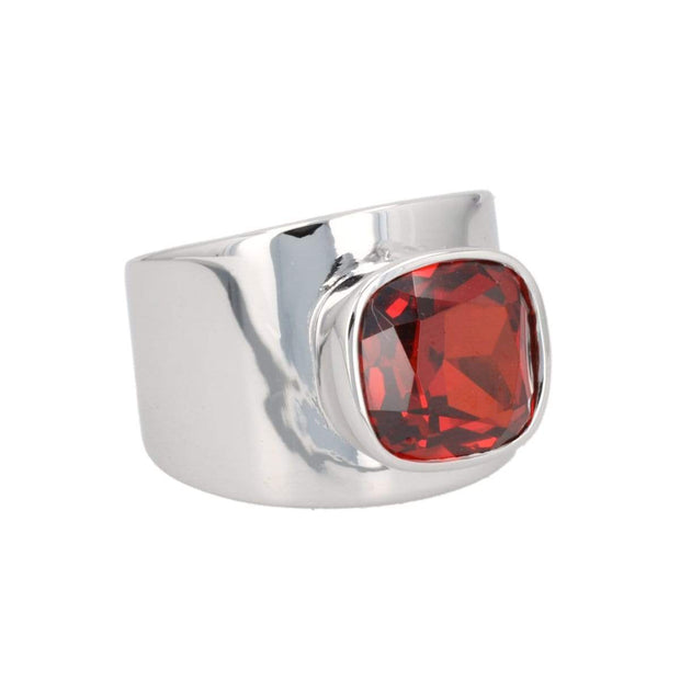Adore Adorn Ring Lilly Ring - Silver / Red Garnet