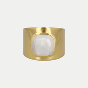 Adore Adorn Ring Mother of Pearl / Brushed Gold / 925 Silver Lilly Ring (Personalized)