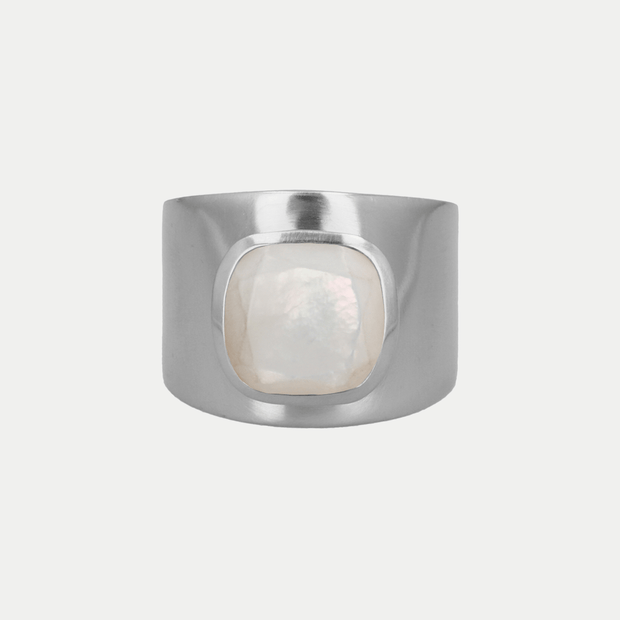 Adore Adorn Ring Mother of Pearl / Brushed Silver / 925 Silver Lilly Ring (Personalized)
