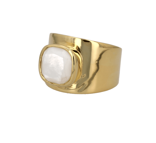 "Adore Adorn Ring Mother of Pearl / Gold Vermeil / 925 Silver Personalized ""Lilly"" Ring"