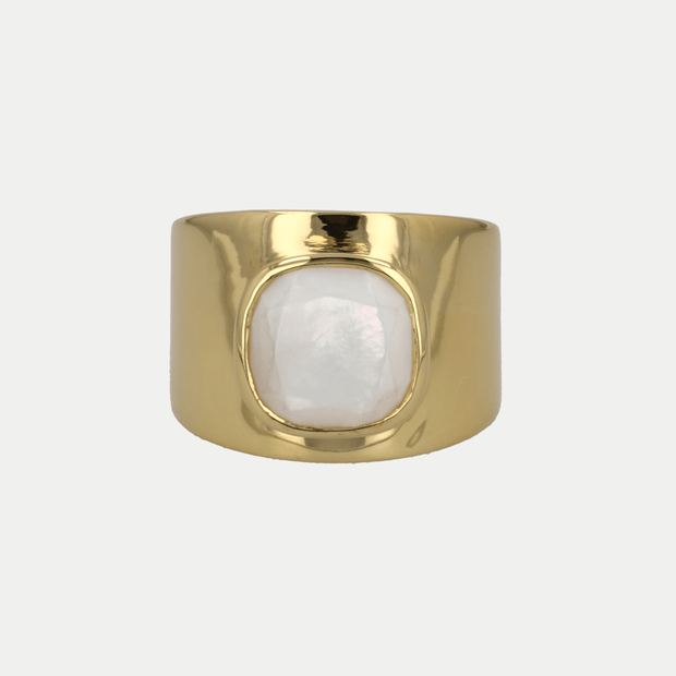 Adore Adorn Ring Mother of Pearl / Polished Gold / 925 Silver Lilly Ring (Personalized)