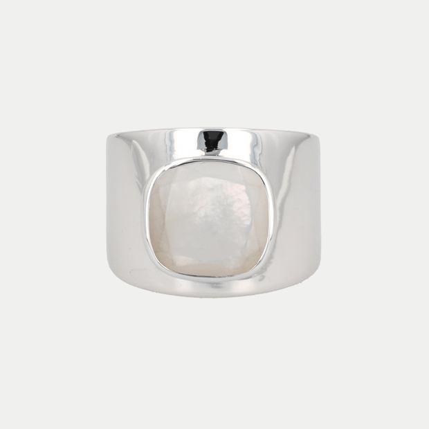 Adore Adorn Ring Mother of Pearl / White Rhodium / 925 Silver Lilly Ring (Personalized)