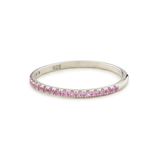 Pavé Individual Ring with Pink Sapphire in White Rhodium