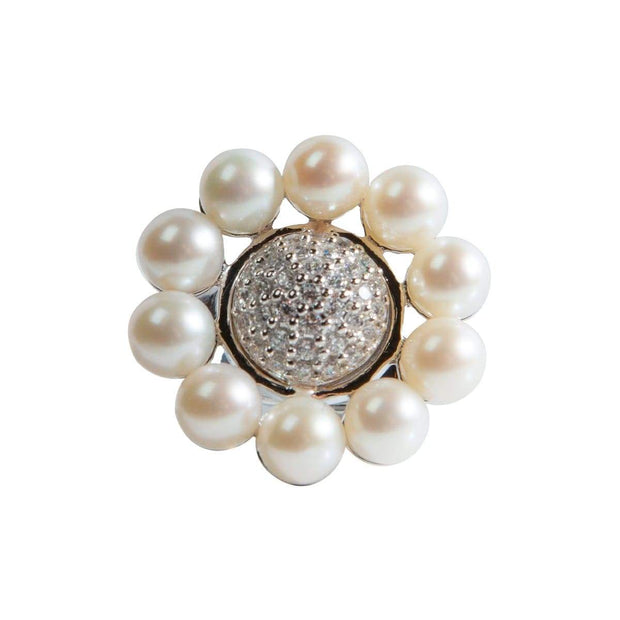 Adore Adorn Ring Pearl Floral Ring - Silver / Fresh Water Pearls