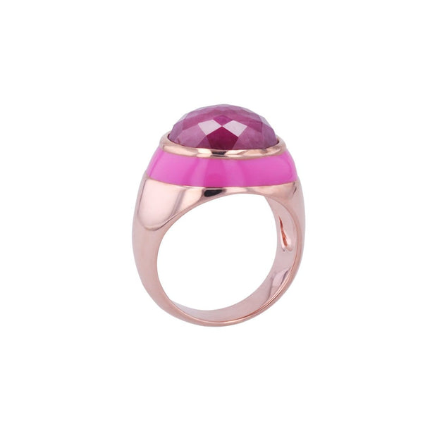 Adore Adorn Ring Rouge Enamel Ring with Cabochon Opaque Ruby in Rose Gold
