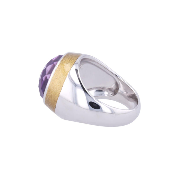 Adore Adorn Ring Thank You Enamel Ring with Cabochon Amethyst in White Rhodium