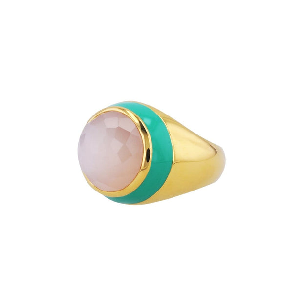 Adore Adorn Ring Victoria Enamel Ring with Peach Moonstone in 14K Gold