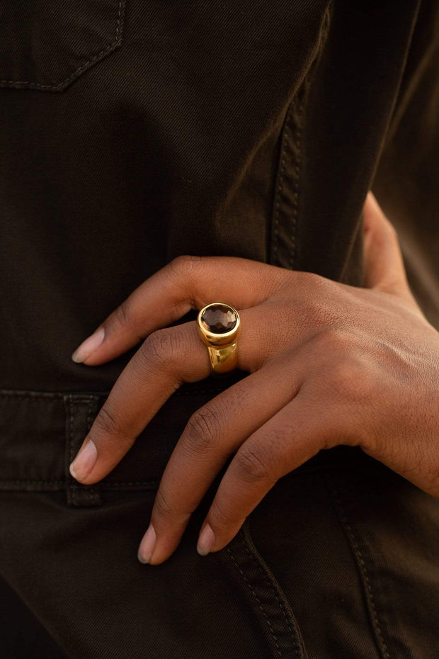 Adore Adorn Ring Visionary Domed Ring with Smokey Quartz in Gold