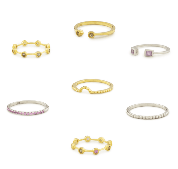 Adore Adorn Seven Rings Assorted Stack