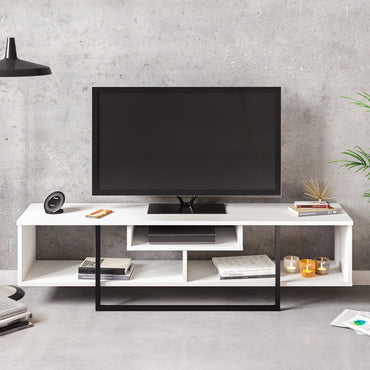 "Asal 59"" Wide Metal Wood TV Stand & Media Console - Decorotika"