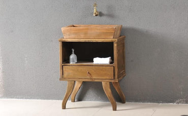 Classic Bathroom Solid Wood Stand with Cubby, Drawer and Sink - Decorotika
