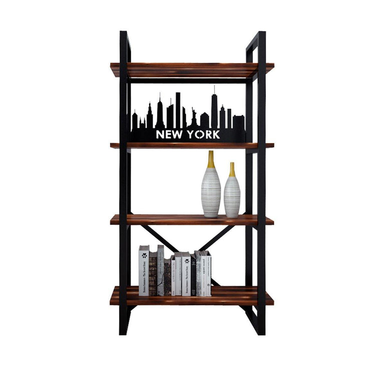 New York Assolute 59'' Tall Metal Wood Bookcase - Decorotika