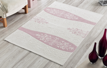 Vase 100% Turkish Cotton Sanforized Washable Area Rug with Various Size Options - Combination of Pink, White and Light Cream - Decorotika