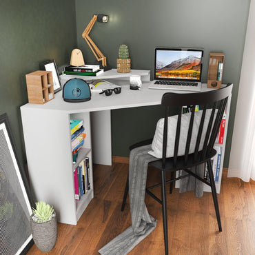 "Floating 47.2"" Wide Computer Desk with Shelves"