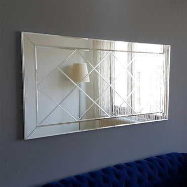 "Diamond Patterned 51"" Tempered Glass Accent Wall Mirror - Decorotika"