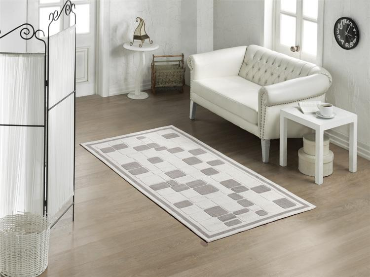 Mosaic 100% Turkish Cotton Bohemian Washable Area Rug - Light Gray and Off-White - Decorotika