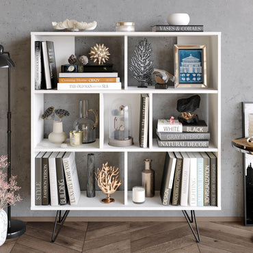 "Mistico 52"" Tall Bookcase with Metal Legs - Decorotika"
