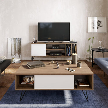 "Mistico 47"" Wide Coffee Table with A Cabinet and Shelves - Decorotika"