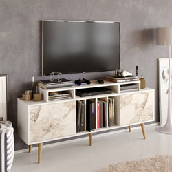 "Char 63"" TV Stand and Media Console with Cabinets and Shelves"