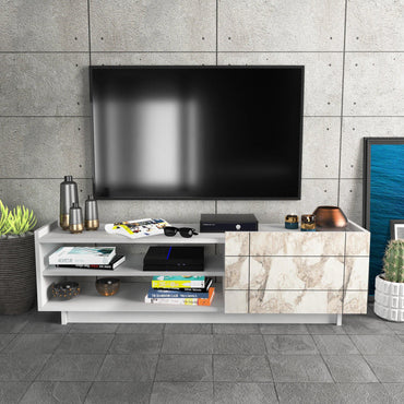 "Valantina 55"" Wide TV Stand & Media Console with A Cabinet & Shelves for TVs up to 63"""
