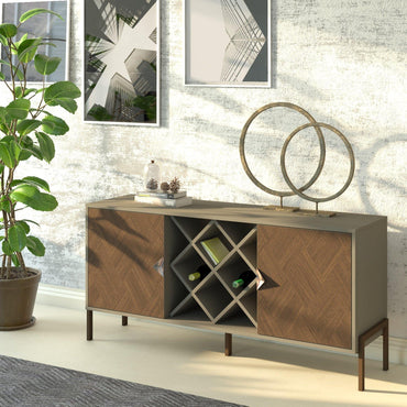 "Linea 63"" Wide Metal Wood Sideboard - Decorotika"