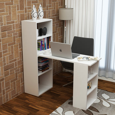 Belmar Multifunctional Computer Desk with 7 Open Shelves - White - Decorotika