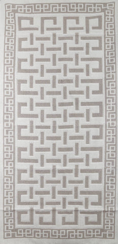 Labyrinth 100% Cotton Washable Area Rug - Light Gray and Off-White - Decorotika