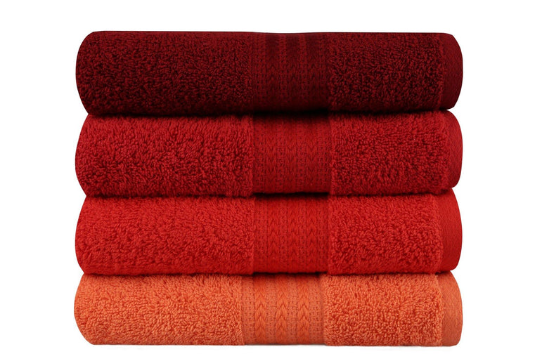 Decorotika Soft, Colorful and Highly Absorbent Premium Quality 100% Turkish Cotton 4 Piece Hand Towel Set with Special Gift Box in Various Color Options - Size 20'' x 35'' (50 x 90 cm) - Decorotika