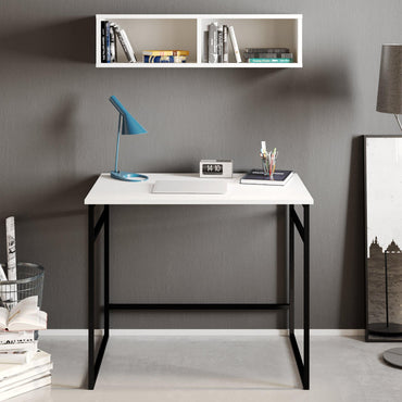 Gama Metal Wood Computer Desk with Wall Cubby Shelf - Decorotika