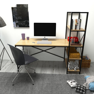 "Gentile 63"" Wide Metal Wood Computer Desk with 4-Tier Shelves - Black & Oak - Decorotika"