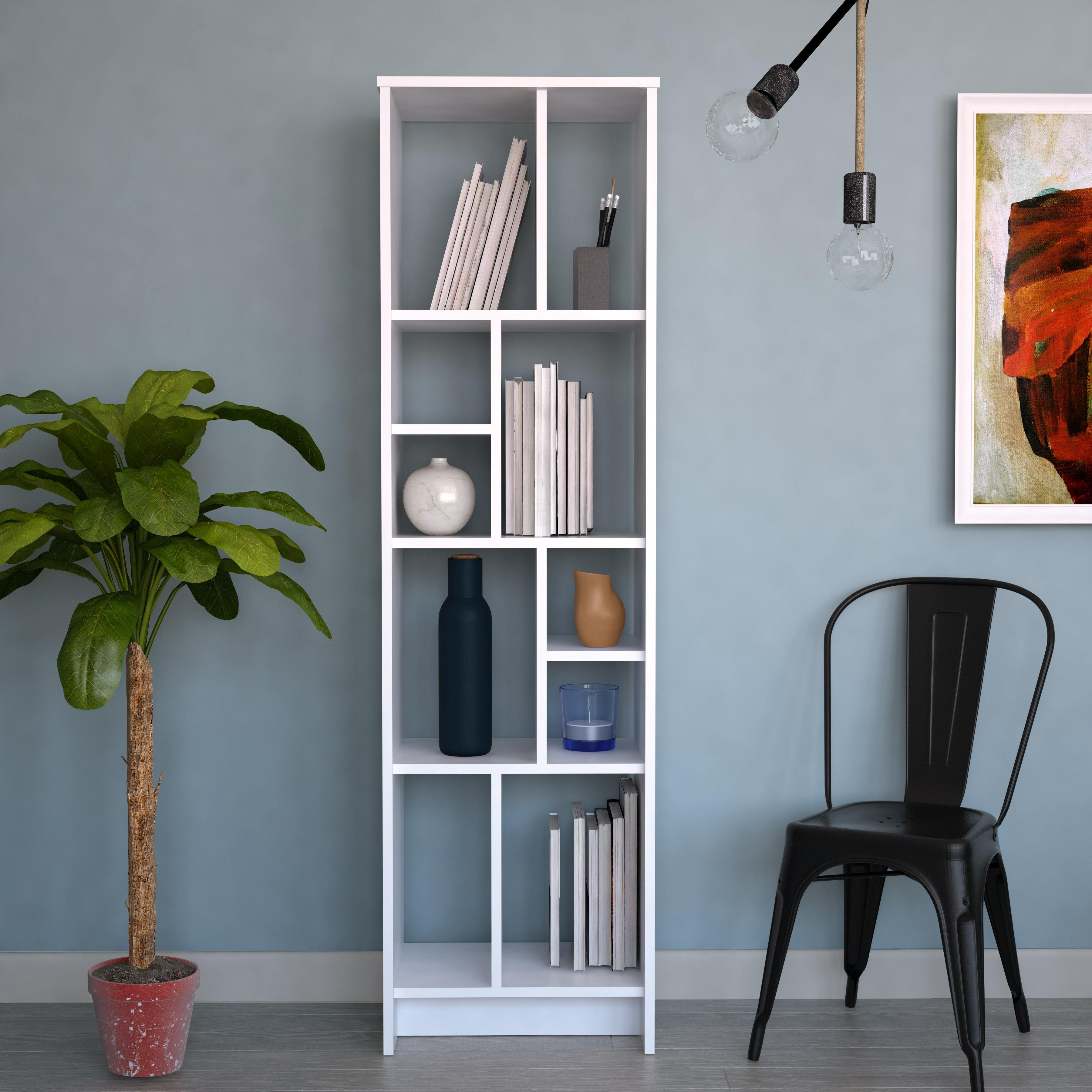 Manhattan 69'' Tall Modern Accent Bookcase with Five Tier Various Design Open Shelves - White - Decorotika