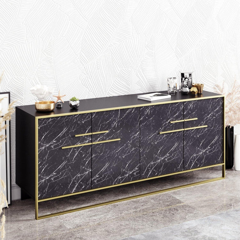 Polka 71'' Wide Metal Wood Sideboard - Decorotika
