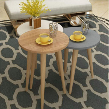 Tale 3-Piece Accent Nesting Coffee Table Set with Solid Wood Legs - Decorotika