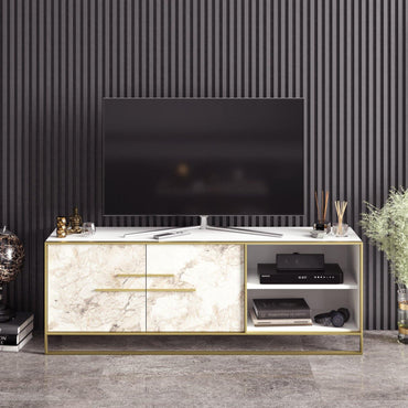 "Polka 63"" Wide Metal Wood TV Stand & Media Console for TVs up to 73"" - Decorotika"