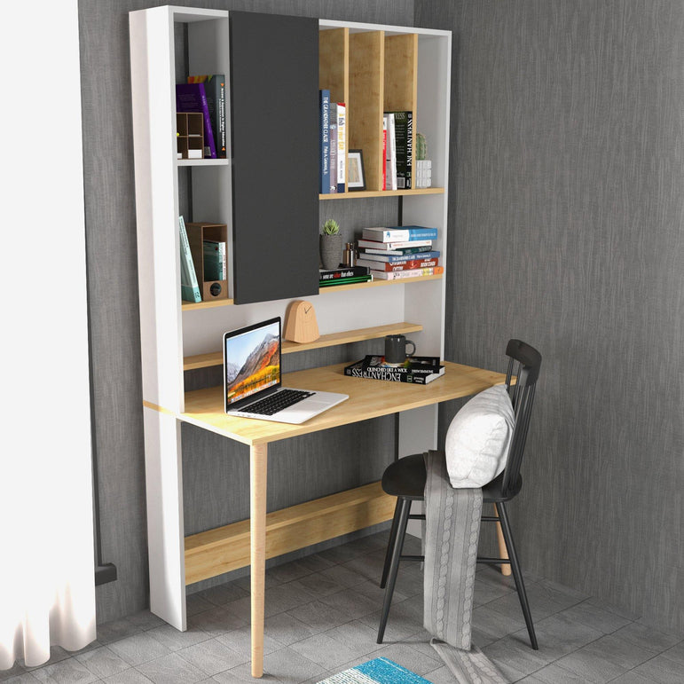 "Wood 77"" Tall Multifunctional Computer Credenza Desk with A Cabinet & Shelves"