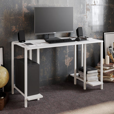 Reader 49'' Wide Metal Wood Computer Desk with Open Shelves - Decorotika